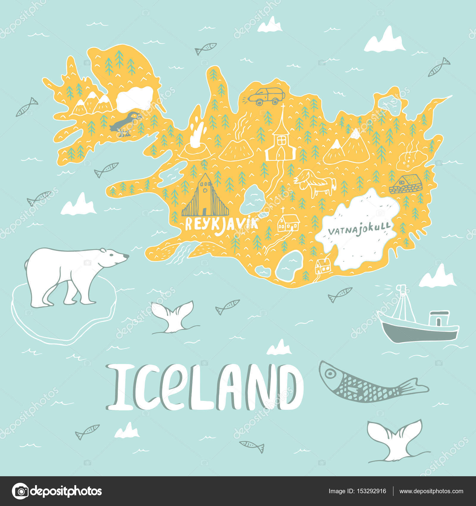 Iceland hand drawn cartoon map vector illustration with travel iceland hand drawn cartoon map vector illustration with travel landmarks animals and natural phenomena sciox Gallery