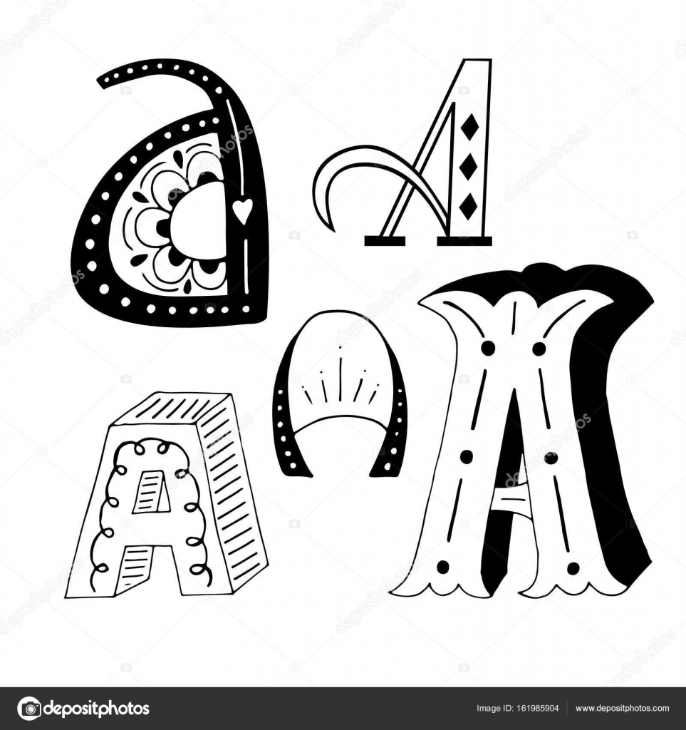 Unique Collection Of Hand Drawn Letter A With Doodle Ornament Cute