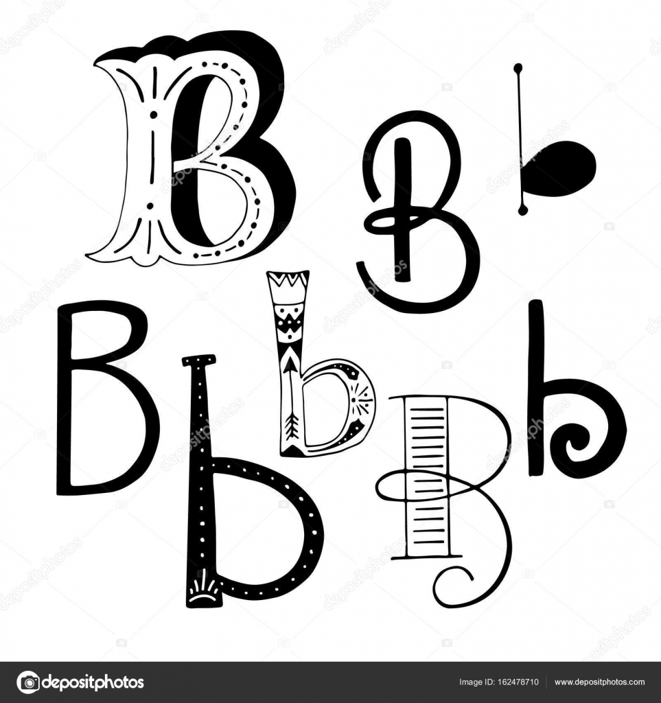 Unique Collection Of Hand Drawn Letter B With Doodle Ornament Cute Lettering Boho Style Script