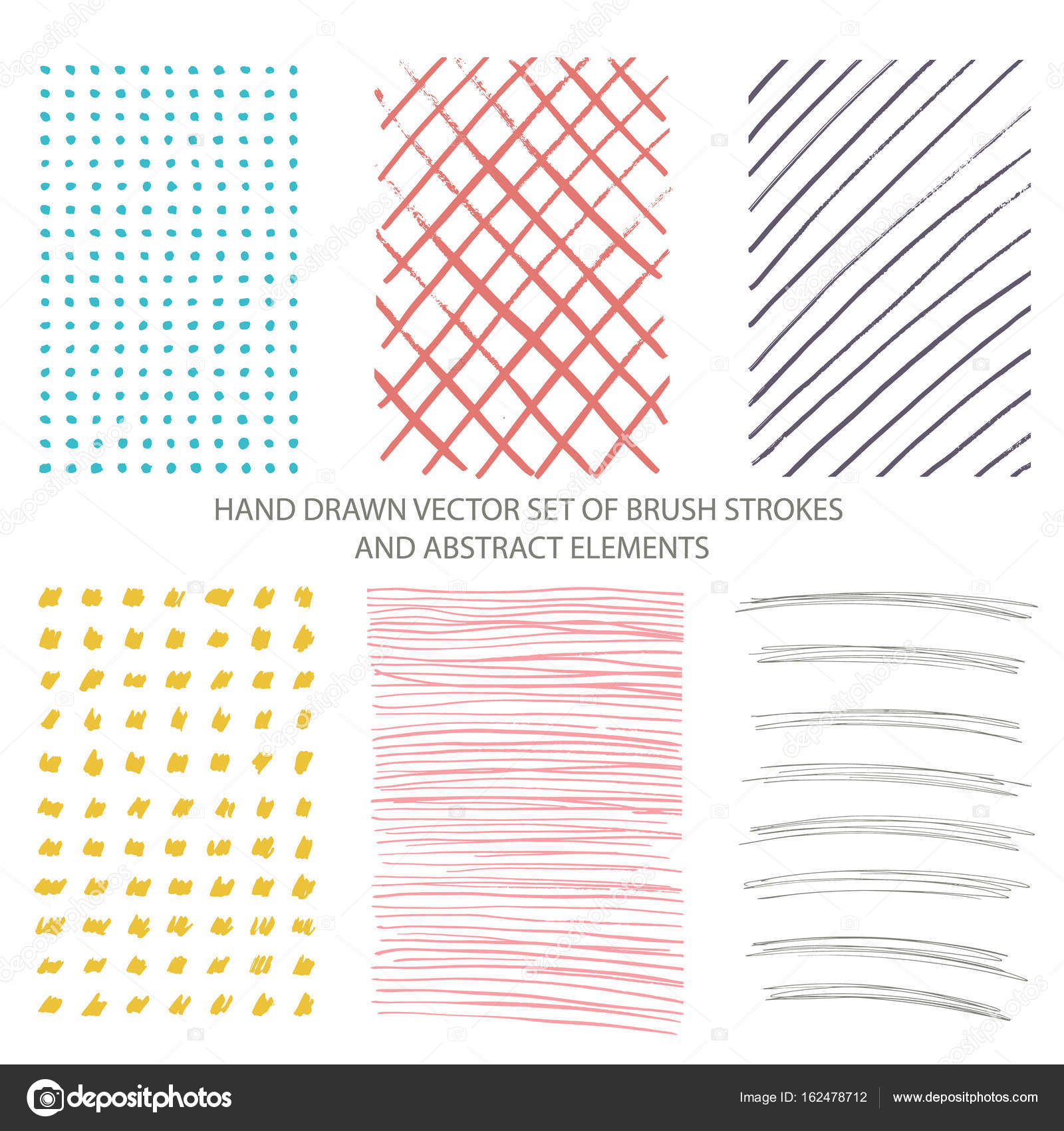 Vector Set Of Hand Drawn Brush Strokes Abstract Elements Ink Stains And Grunge Textures