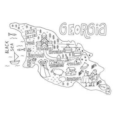 Unique hand drawn cartoon map of Georgia. Vector illustration