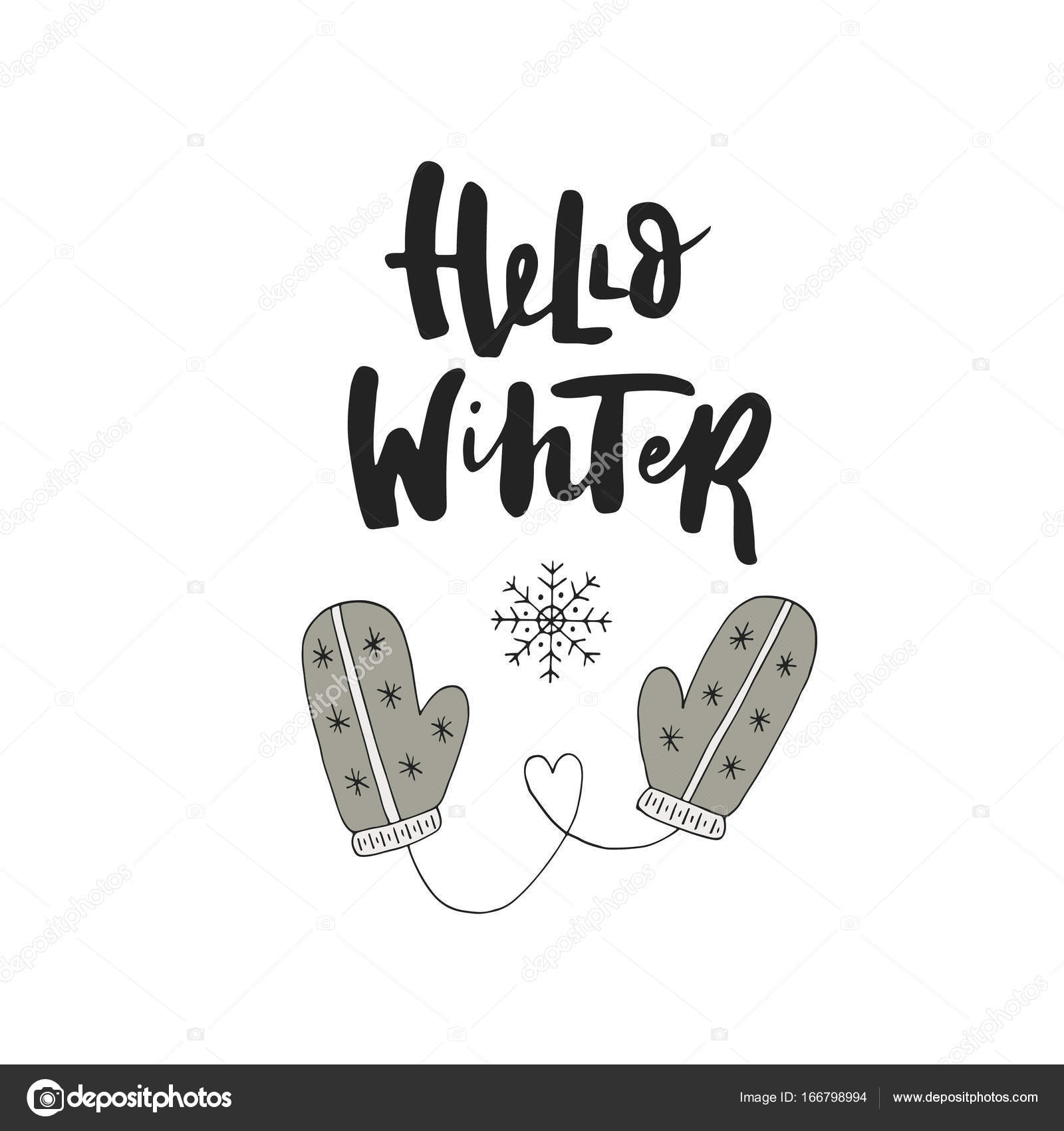 hello winter hand drawn christmas card with lettering and decorations cute new year clip art vector illustration vector by oksanastepova
