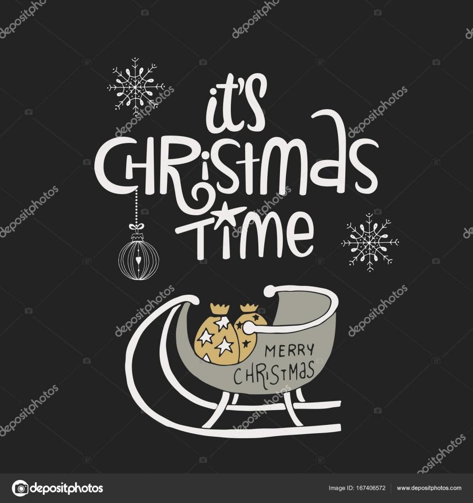 Es Weihnachtet Handgezeichnete Neujahrskarte Mit Schlitten