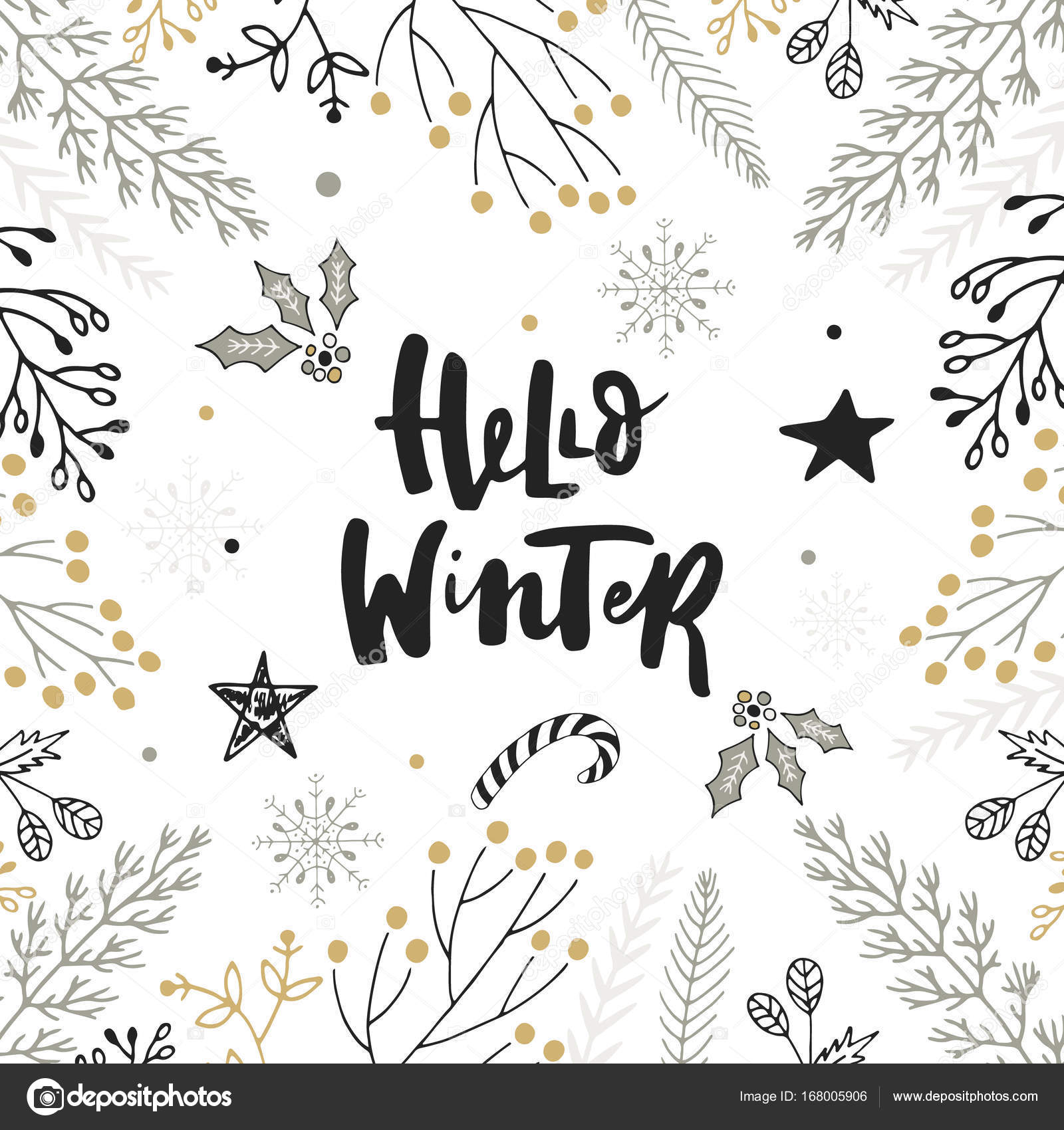 hello winter hand drawn christmas lettering with floral and decorations cute new year clip art vector illustration vector by oksanastepova