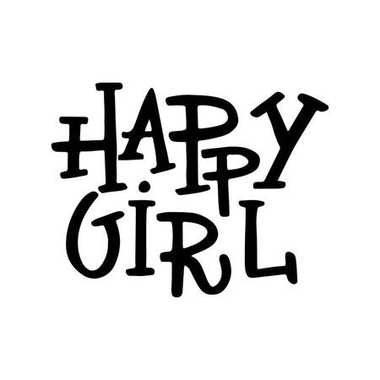 Happy Girl - unique hand drawn nursery poster with lettering. Cute baby clothes design. Vector.