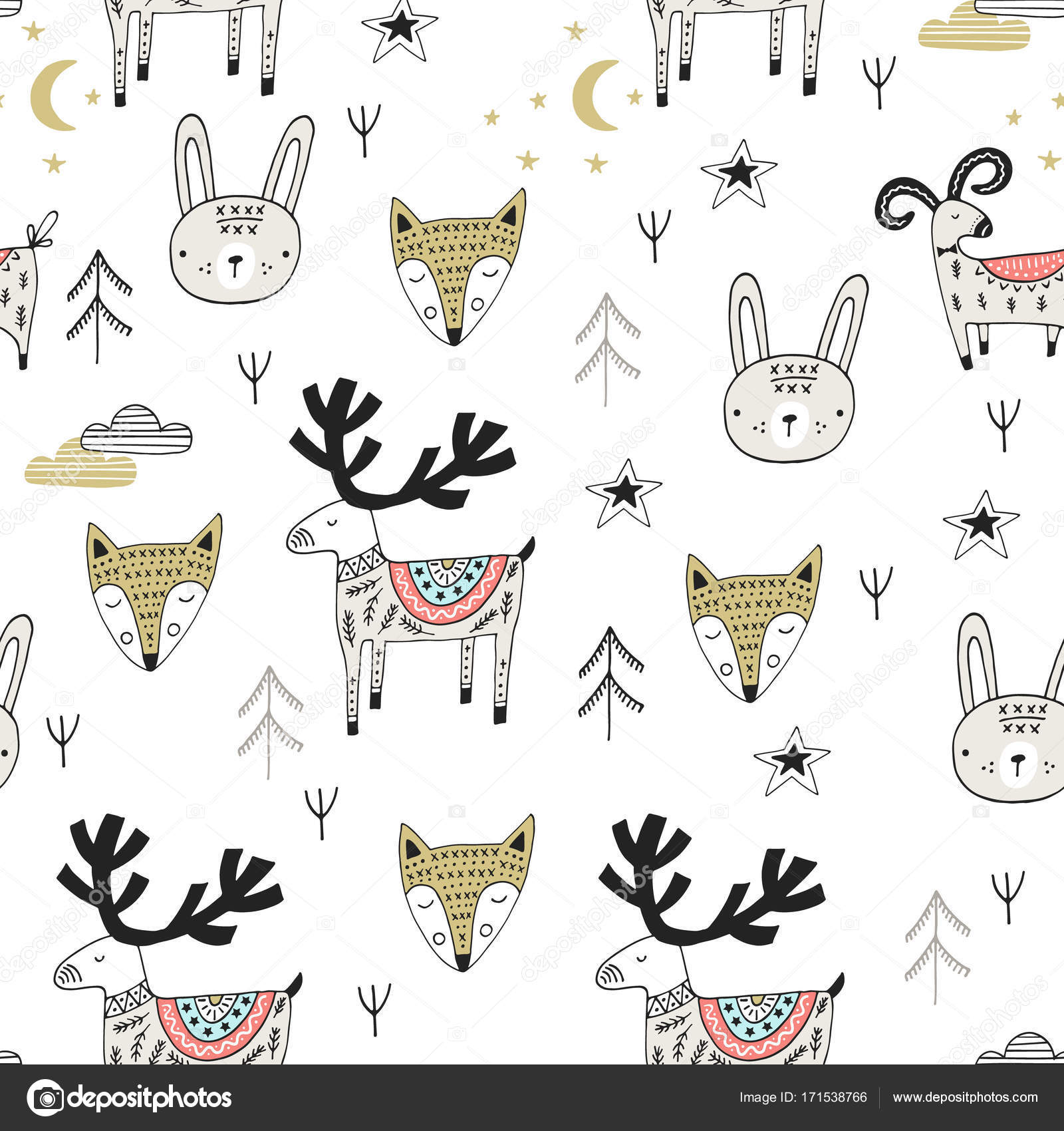 北欧風の野生動物とかわいい手描き下ろし保育シームレス パターン