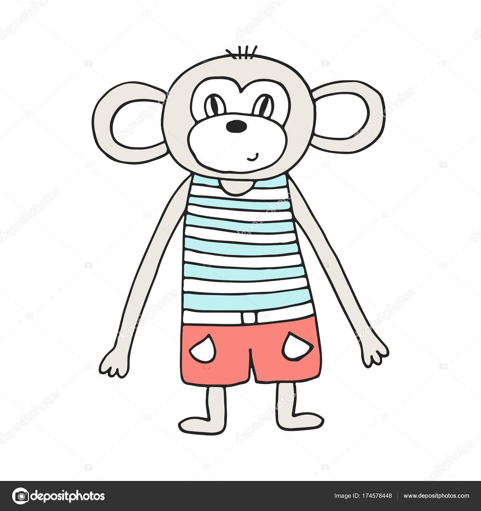 Niedliche Hand Gezeichnete Kinderzimmer Poster Mit Affen Skandinavischen Stil Farbe Stockvektor