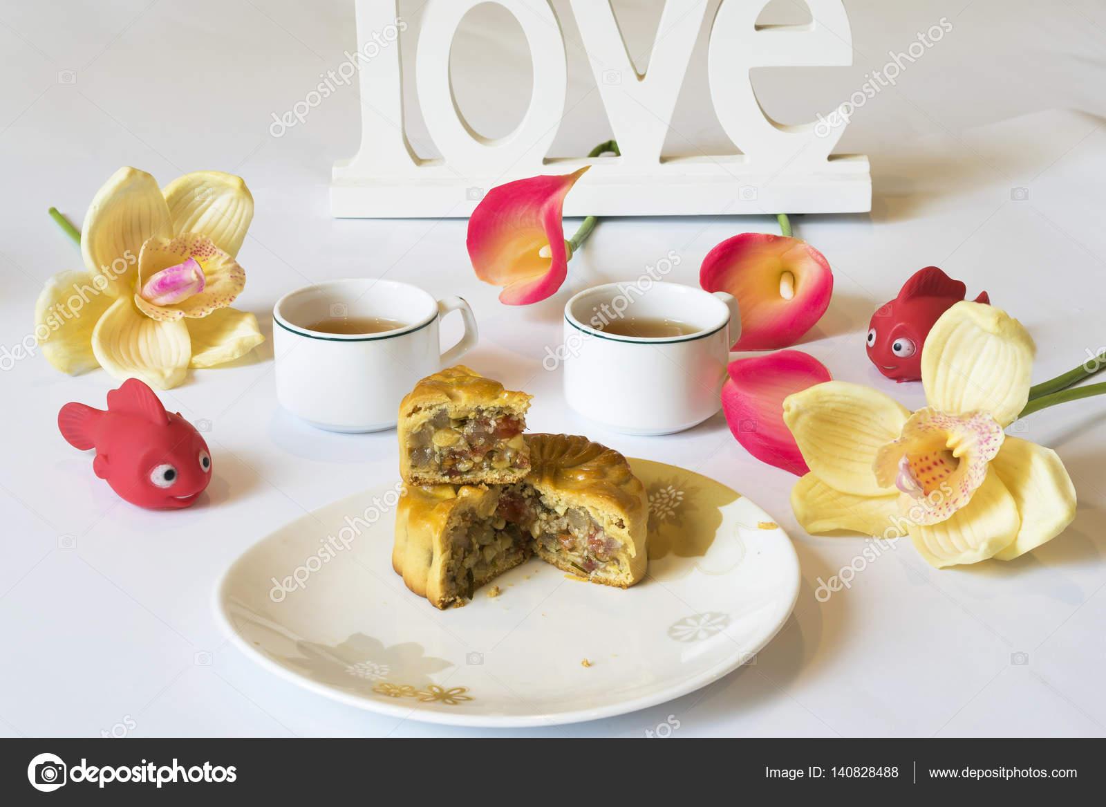 Moon cake, food for Vietnamese mid autumn festival  Focus on