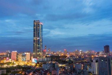 Aerial view of Hanoi cityscape at Lieu Giai street - Dao Tan street - Kim Ma street, Ba Dinh district. Hanoi skyline at twilight