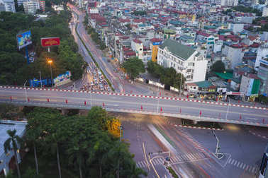 Hanoi, Vietnam - Aug 5, 2015: Aerial view of intersection Nguyen Chi Thanh street crossing Kim Ma street, in Cau Giay district, at twilight