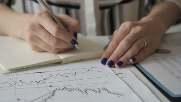 Ženské specialista píše v poznámkovém bloku, zatímco sedí v kanceláři při pohledu na diagramy