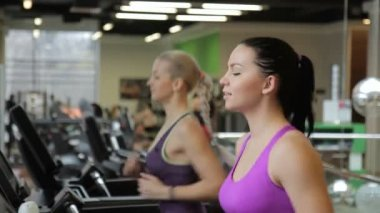 Two female friends are running on treadmills in the modern gym and talking to aech other.