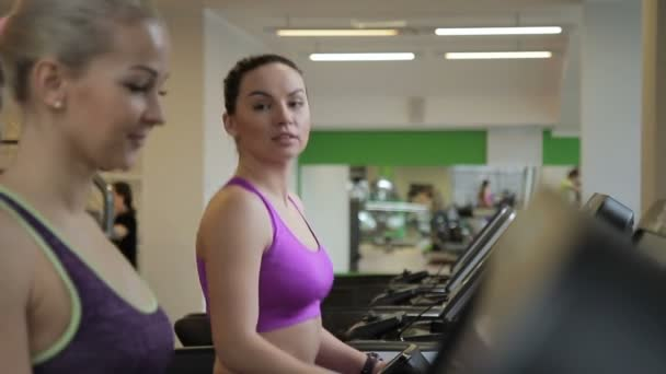 Two female friends are talking while walking on treadmills in the gym.