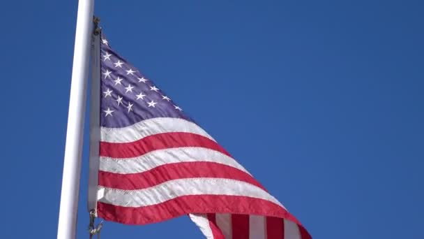 Video of United States flag waving in the wind in 4K