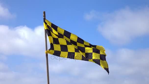 Video della bandiera a scacchi giallo e nero in 4K
