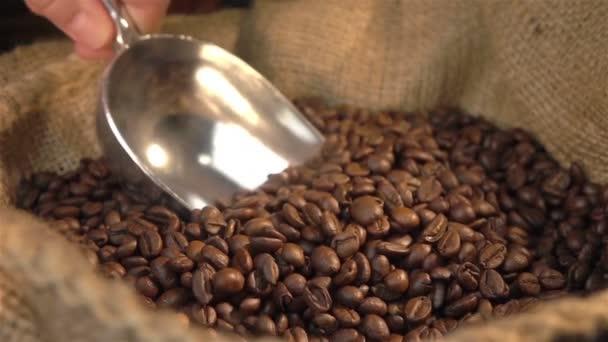 Dvě videa o nabírání kávová zrna v reálném Zpomalený pohyb