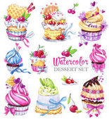 Watercolor tasty dessert set.