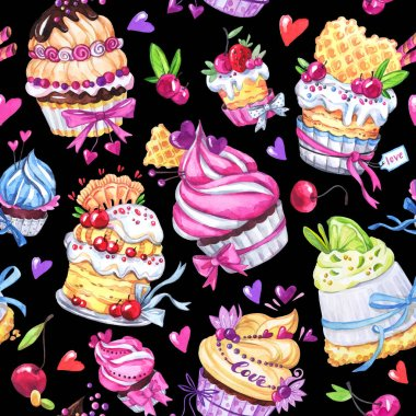 seamless pattern with tasty desserts