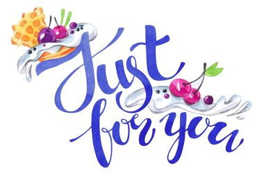 Watercolor congratulation card with pleasant words