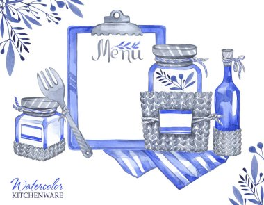 illustration with isolated glass jars