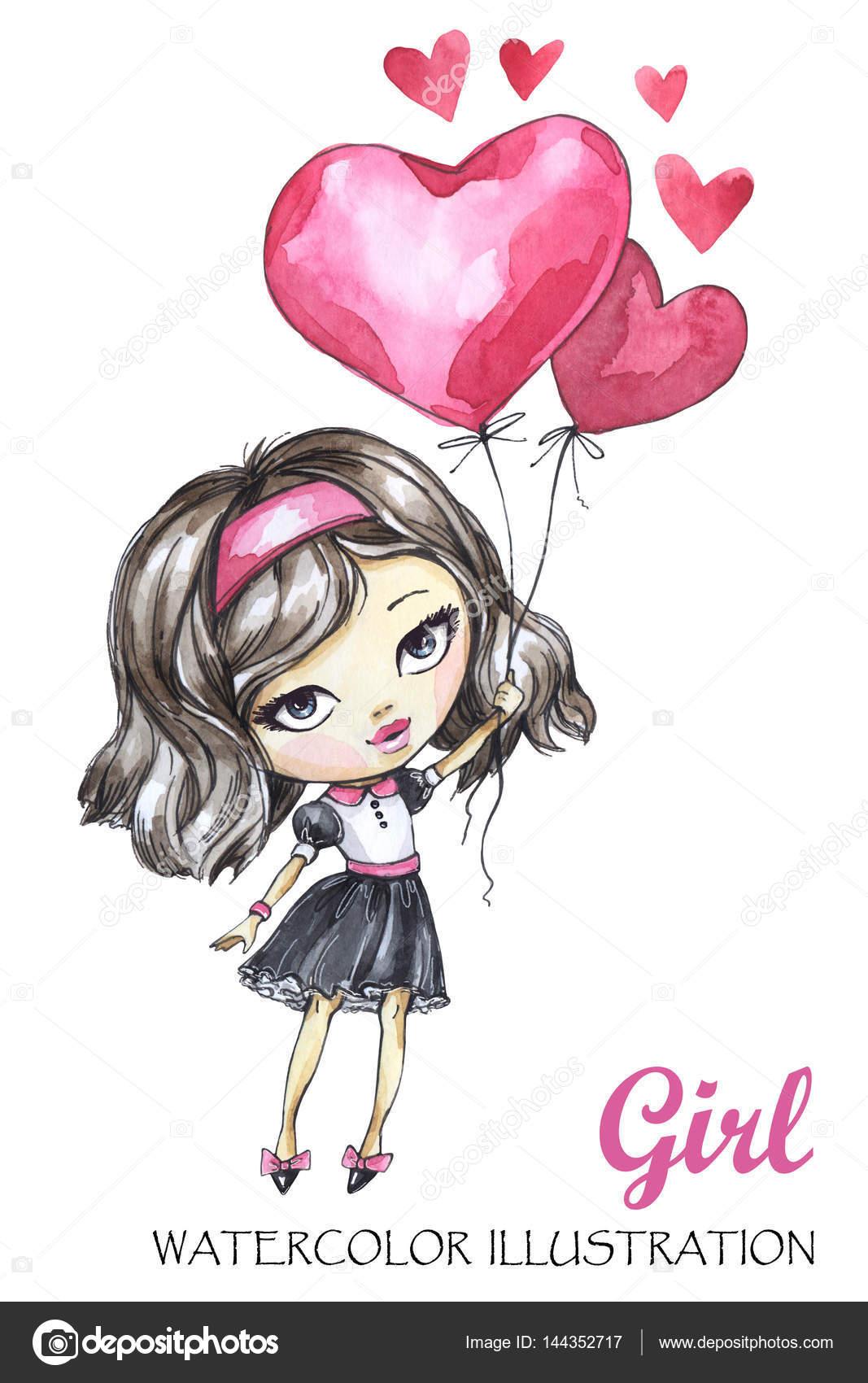 73321bef9 chica romántica con globos de corazones — Fotos de Stock ...