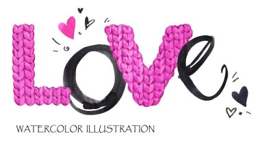 Word Love. Romantic lettering