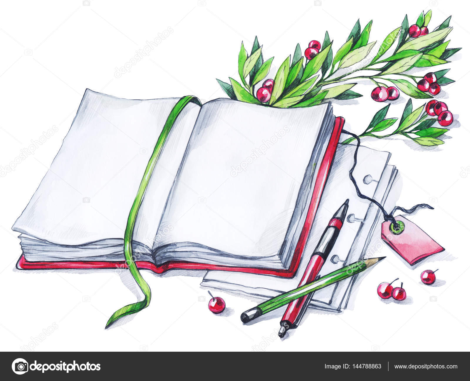 Watercolor book, pen, pencil and floral. — Stock Photo © anastezzzia ...