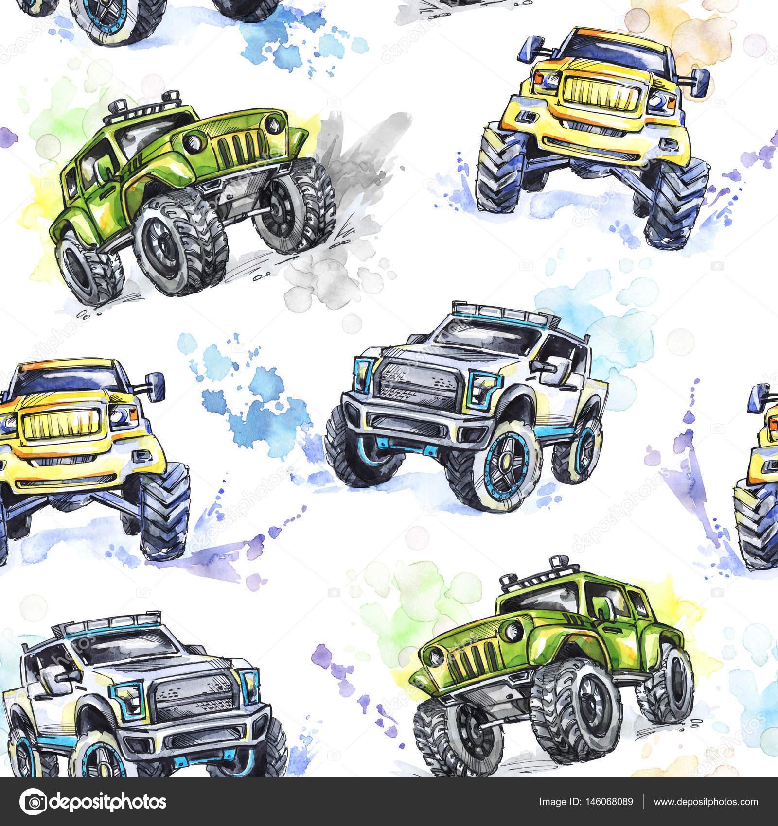 Modèle De Dessin Animé Monster Trucks Photographie Anastezzzia