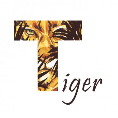 Capital letter T of watercolor tiger