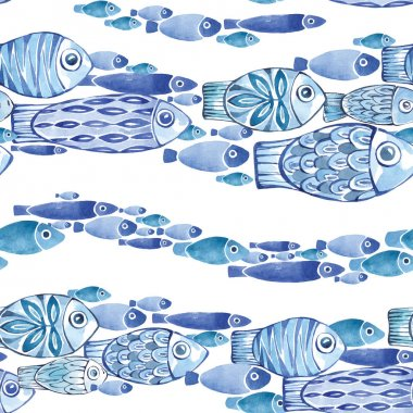 Watercolor seamless horizontal pattern with fishes streams.