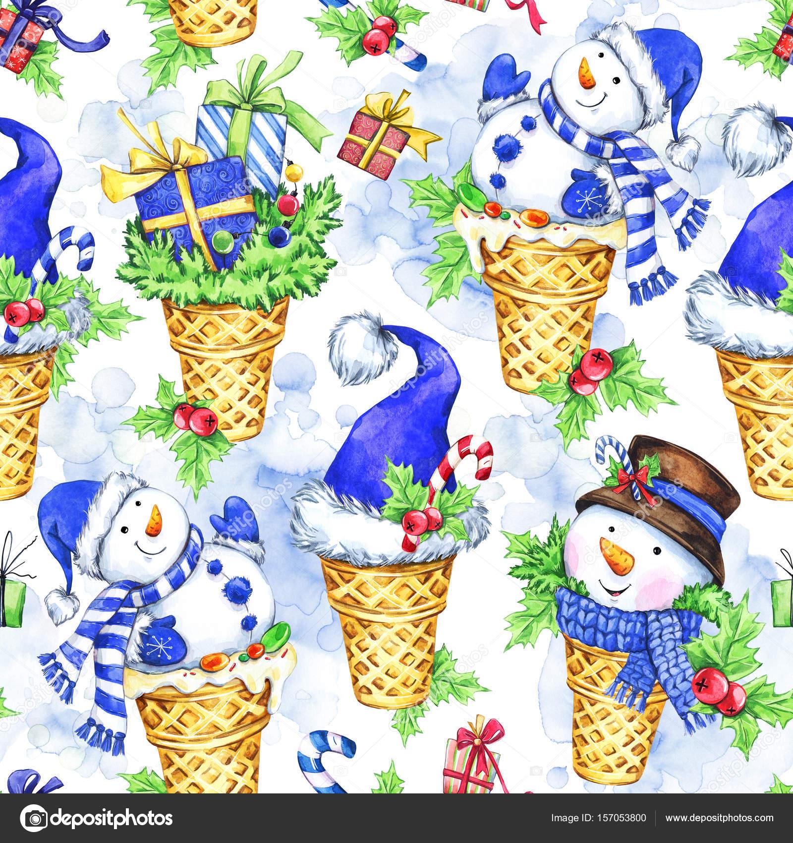 Aquarelle transparente motif avec bonhomme de neige dessin - Dessin de bonnet ...