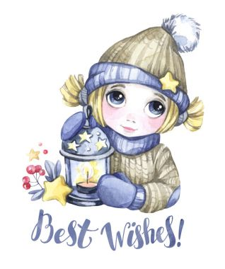 Winter holidays illustration. Watercolor cute girl with Christmas lamp, stars. New Year card. Words Best Wishes.