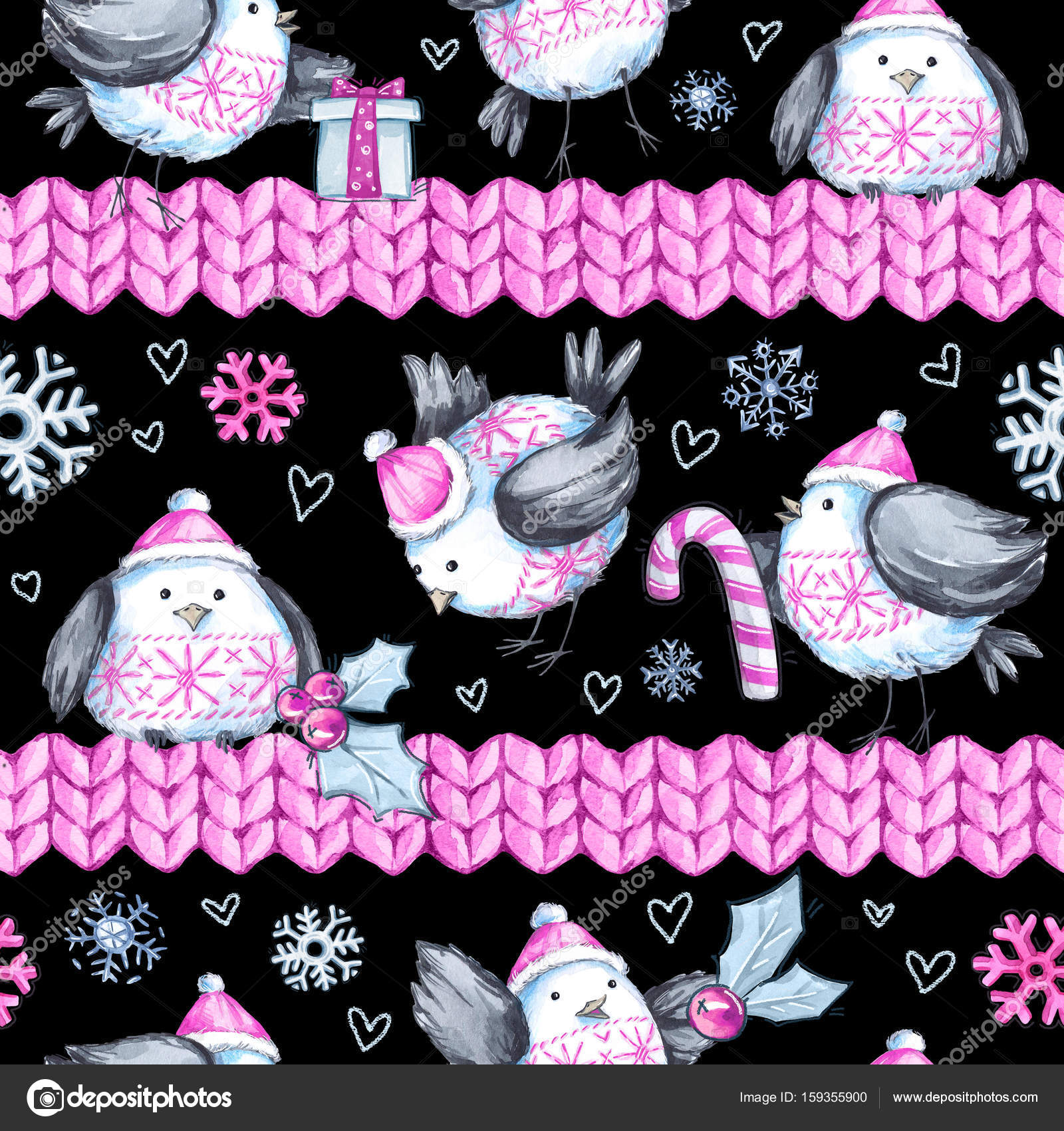 watercolor seamless greeting pattern with cute flying birds and knitted borders new year celebration