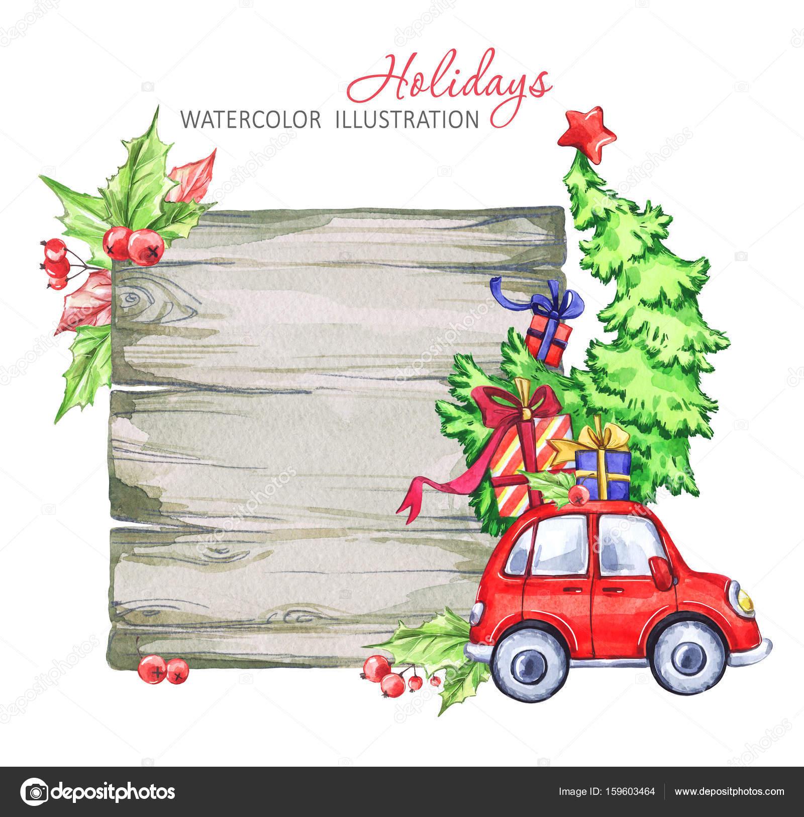 Auto Weihnachtsbaum.Winter Aquarell Grußkarte Holzrahmen Mit Retro Auto Weihnachtsbaum