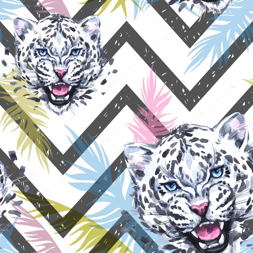 Watercolor exotic seamless pattern. Leopards with colorful tropical leaves on geometric texture. African animals background. Wildlife art illustration. Can be printed on T-shirts, bags, posters.