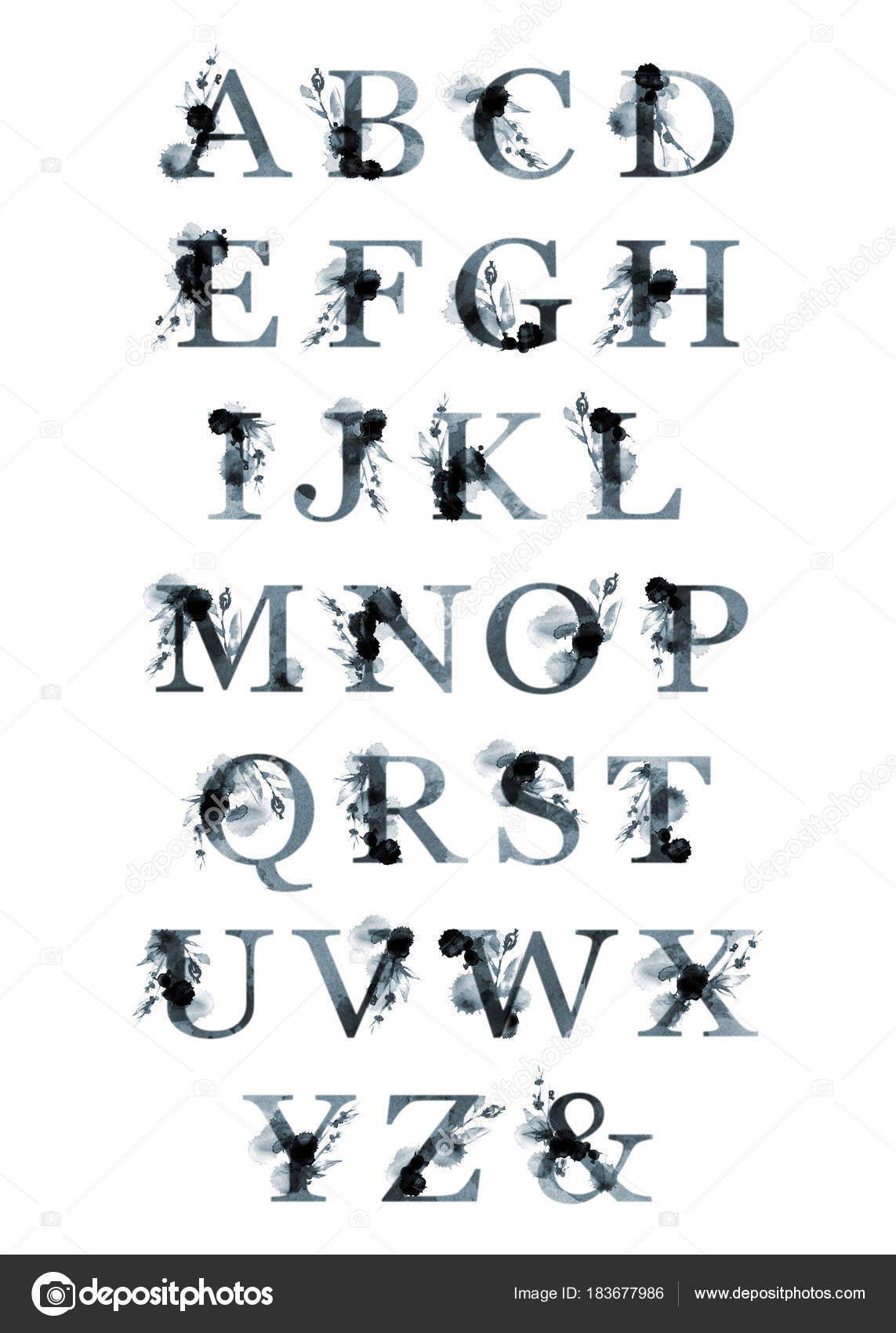 Floral typeface set. Poster capital letters of the Latin. Letters ...