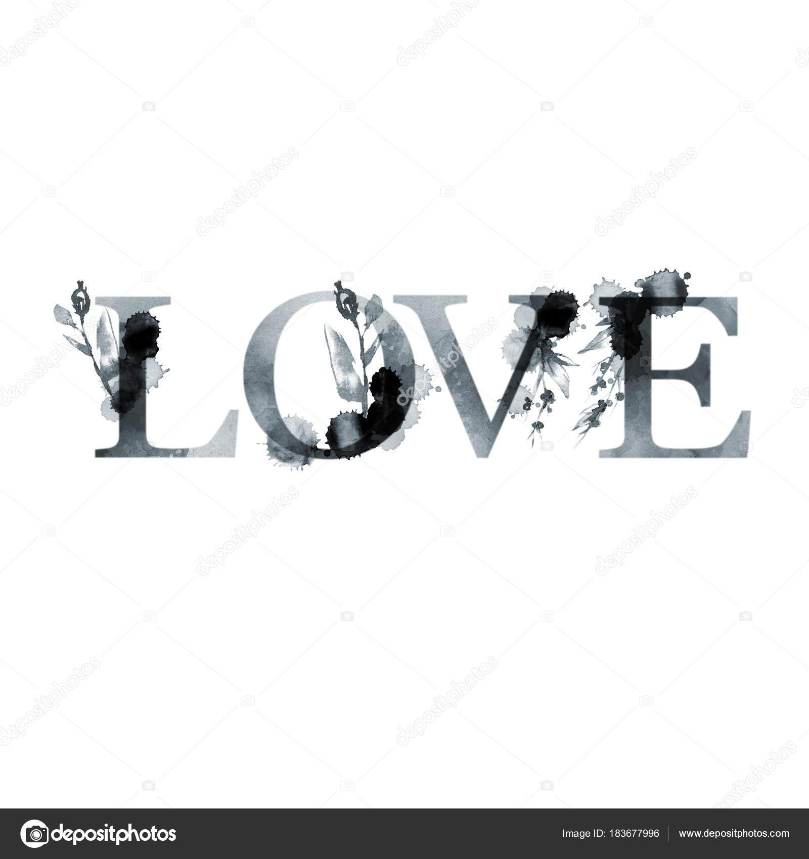 LOVE - floral artistic lettering word. Modern alphabet. Greeting ...