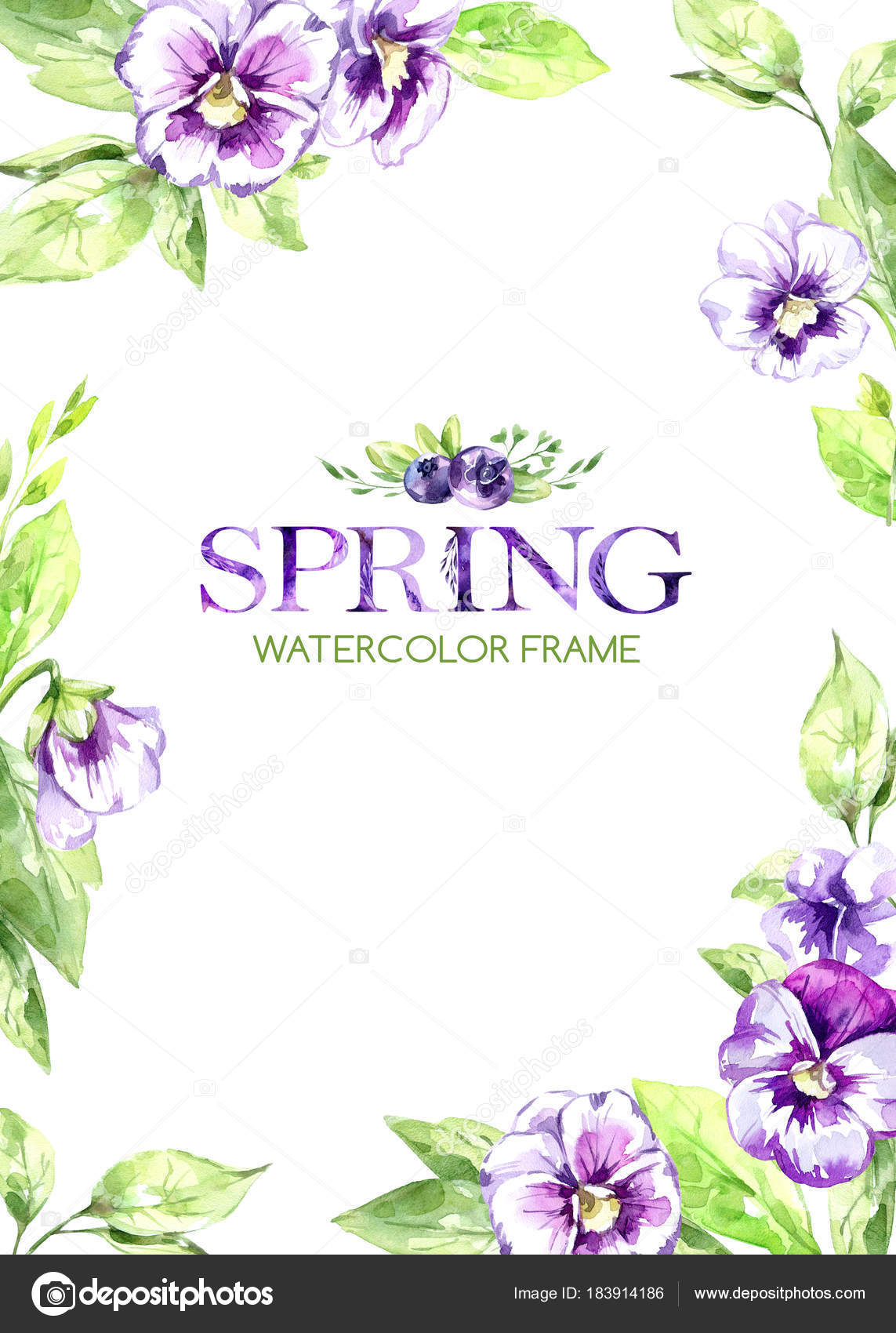 hand painted frame with watercolor spring flowers and leaves