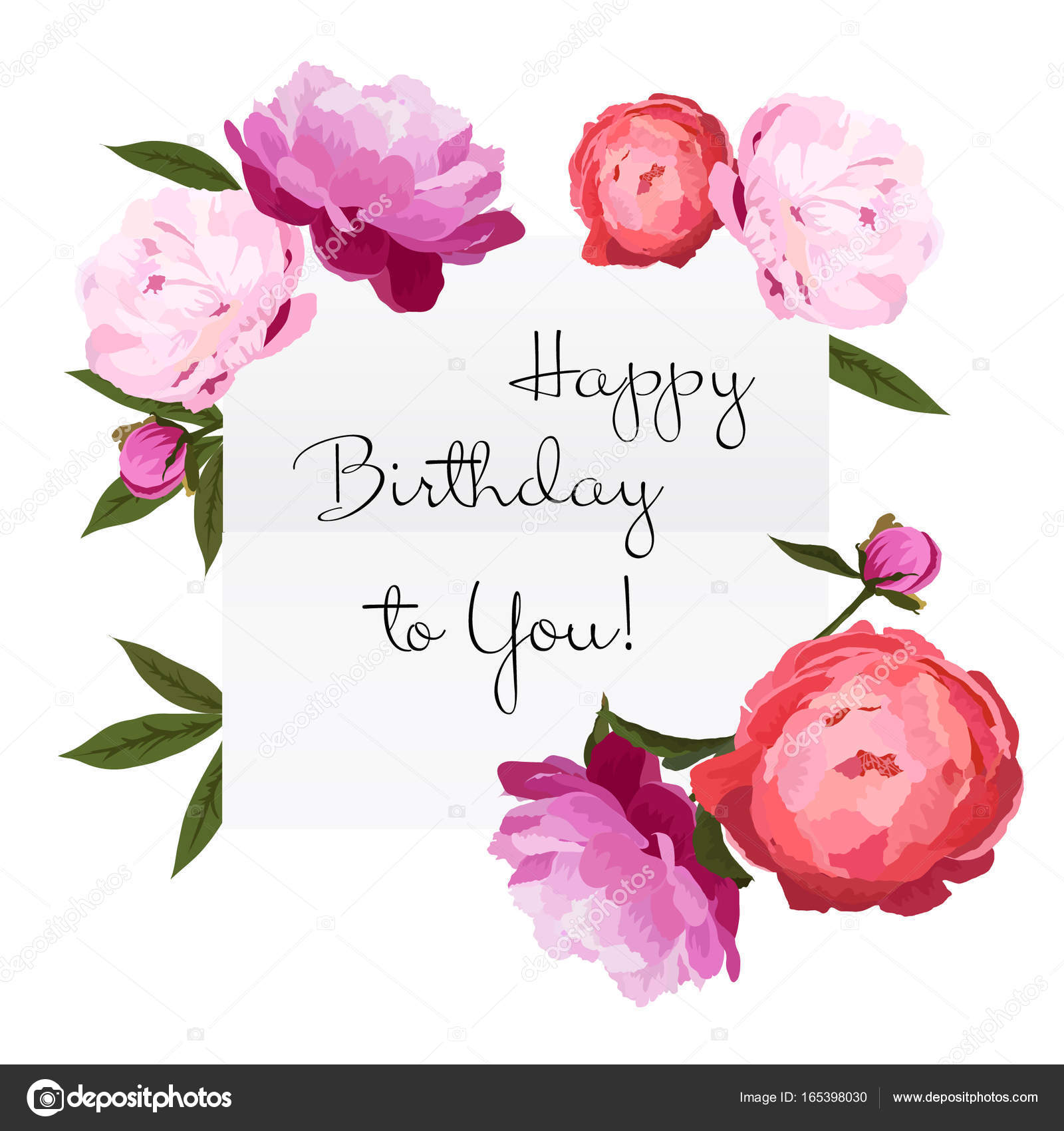 Vector illustration of birthday card with colorful peonies flowers vector illustration of happy birthday card with colorful peonies flowers red pink and violet peonies buttons with green leaves on white background izmirmasajfo