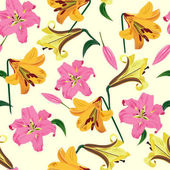 Vector illustration of lily flowersseamless pattern