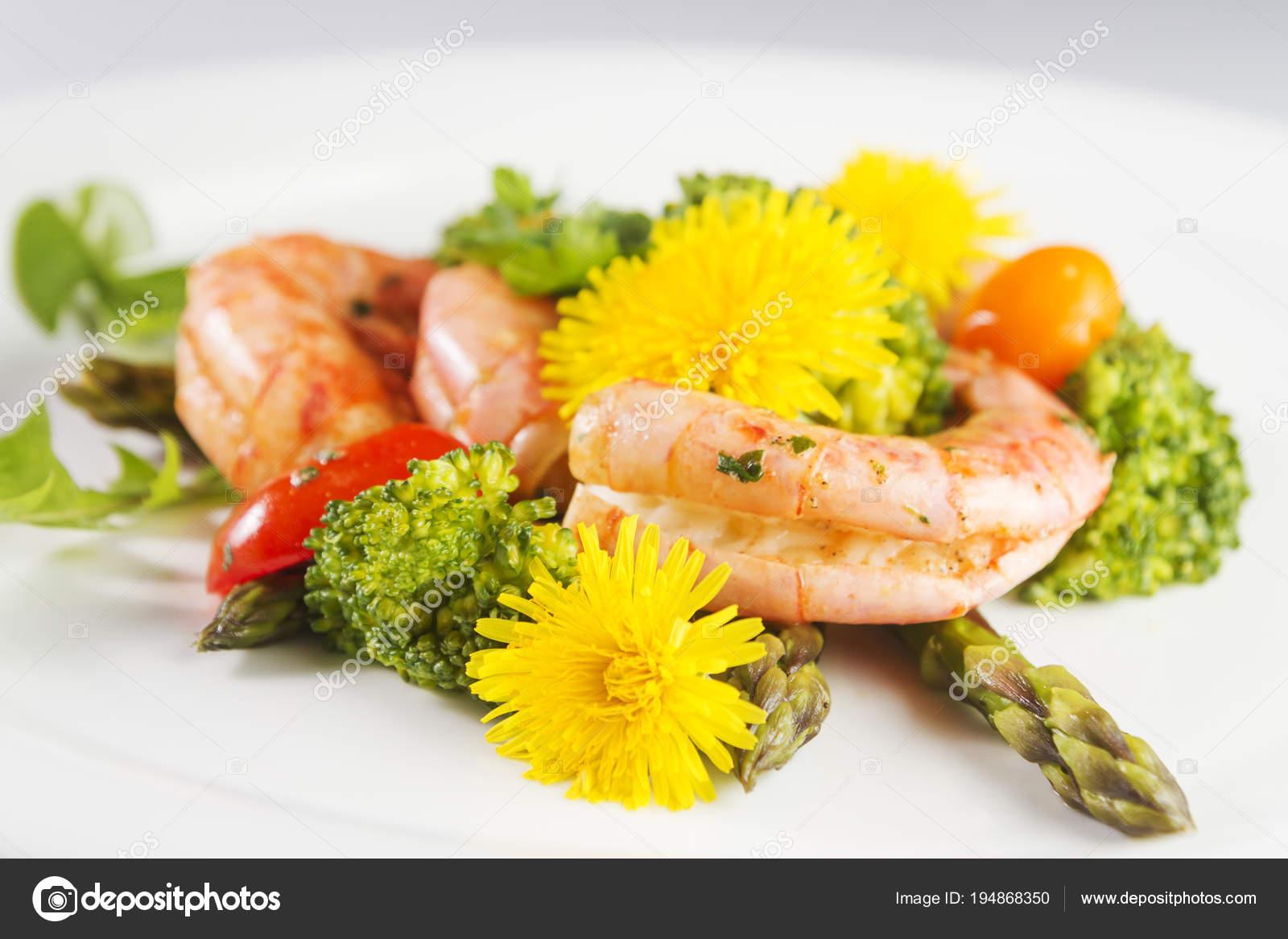 Prawns Asparagus Broccoli Edible Dandelion Flowers Selective Focus
