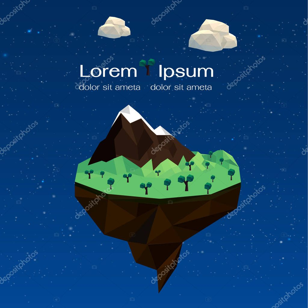 tree and mountain icon. Polygonal image. vector graphic