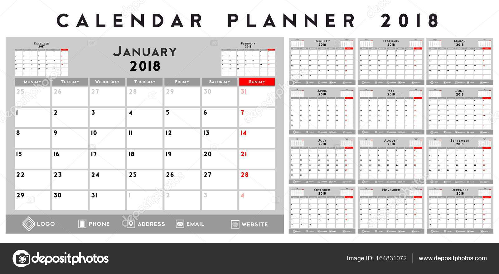 calendar for company in strict corporate stylegreywhitered colors vector by xennya