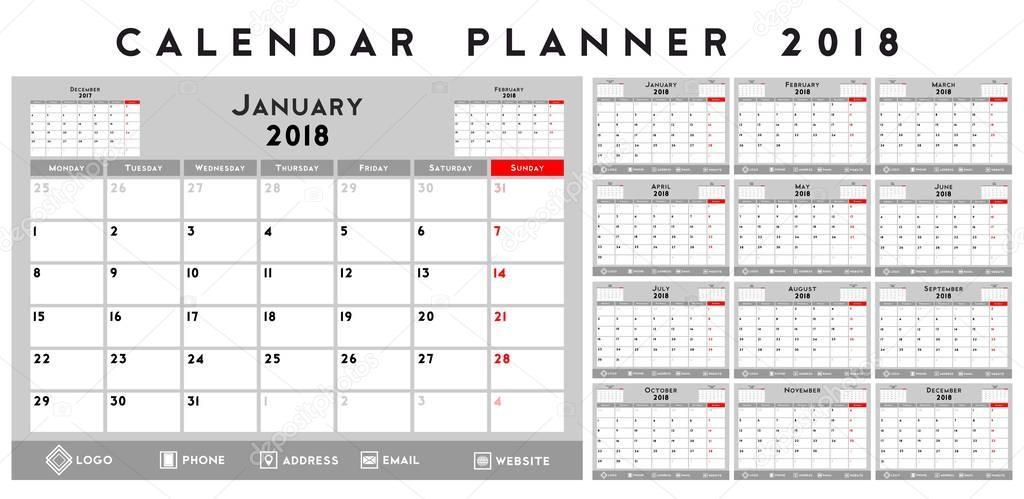quarterly calendar planner for 2018