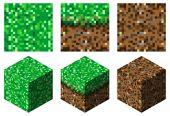 textury a kostky v minecraft stylu (zeleno hnědé trávy a země)