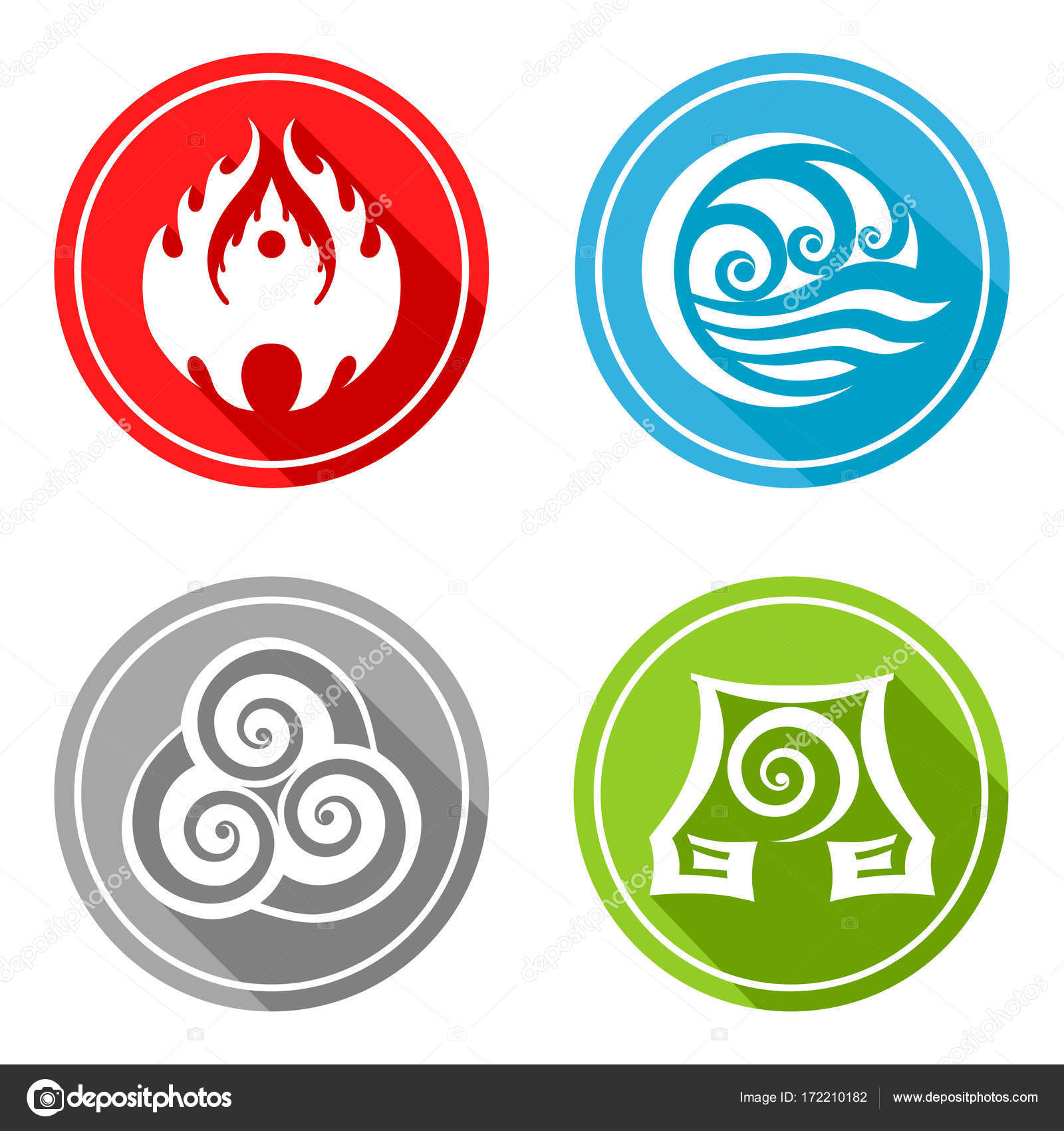 Four Basic Elements Slavic Symbols Fire Water Earth And Air