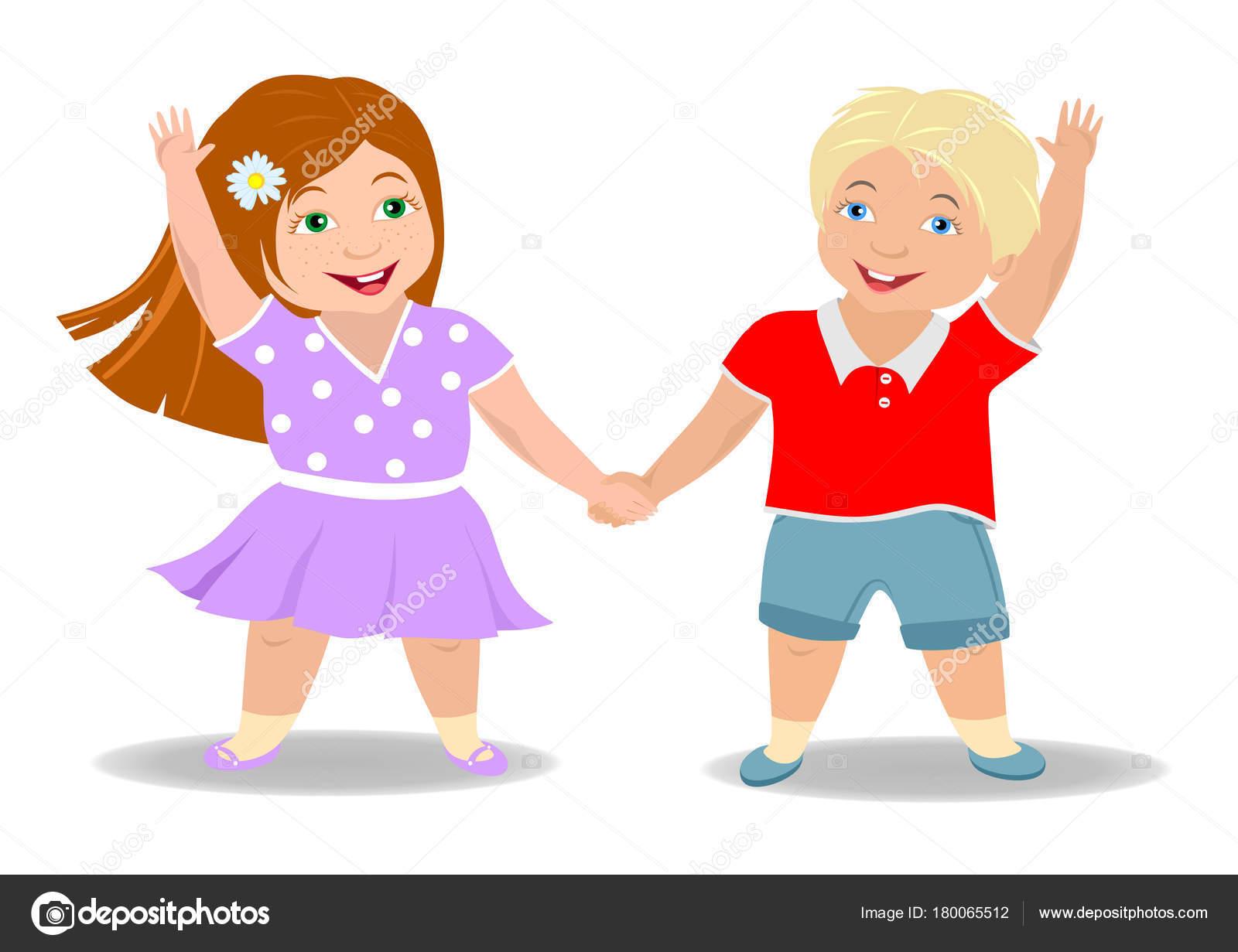 Amistad Los Niños Niño Niña Sosteniendo Mano Sonriendo