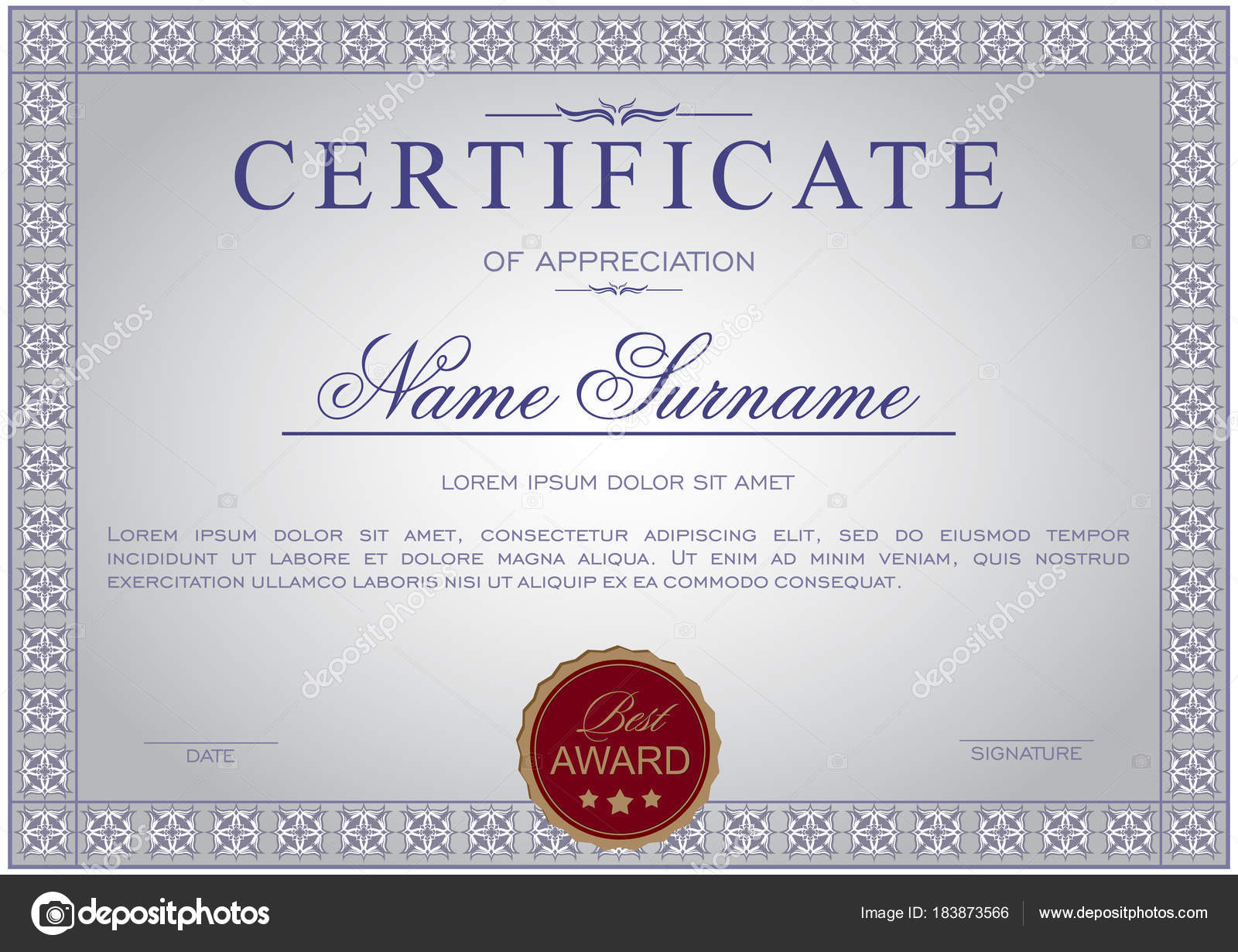 certificate horizontal elegant frame ornamental gray tones
