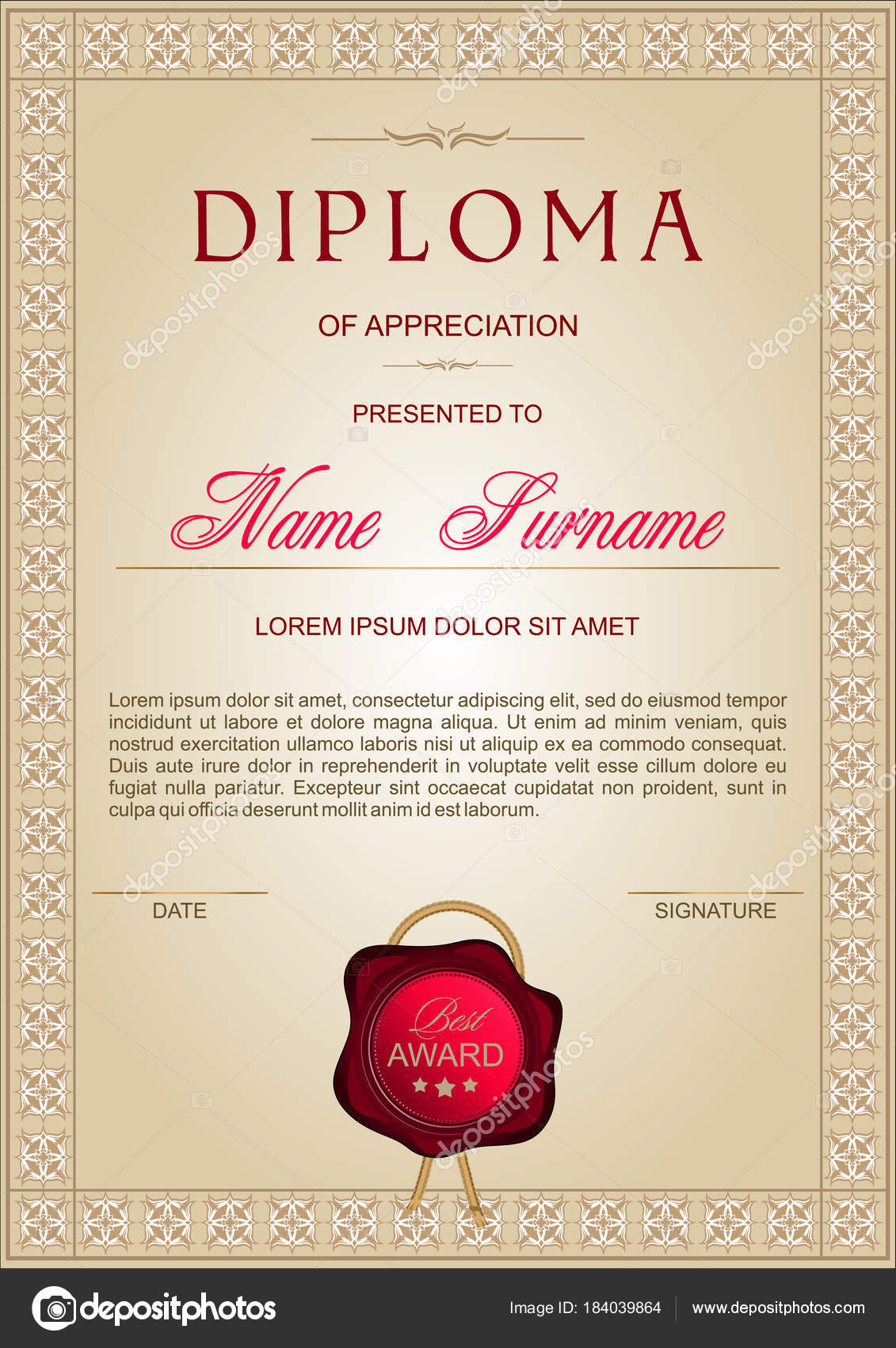 diploma vertical format golden beige shades classic elegant style