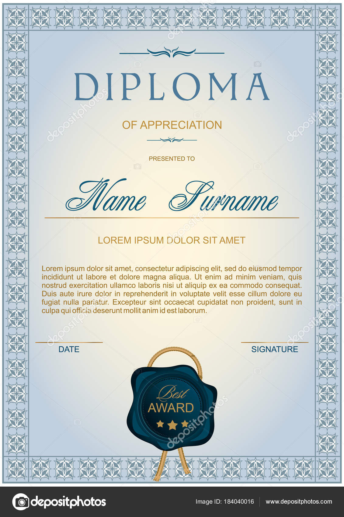 diploma vertical format gray blue shades classic elegant style frame